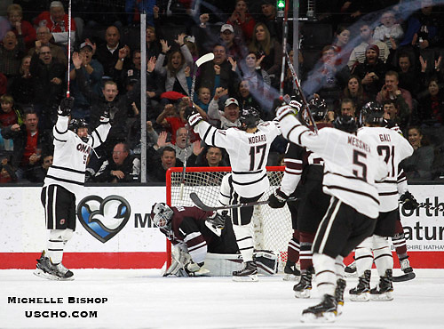 Omaha celebrates Luke Nogard's (17) goal during the second period. Omaha beat Union 5-3 Saturday night at Baxter Arena. (Photo by Michelle Bishop) (Michelle Bishop)