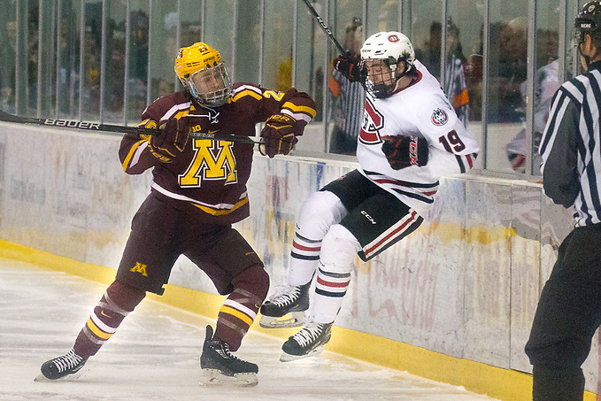 6 Jan 18:  Tyler Nanne (Minnesota - 29), Mikey Eyssimont (St. Cloud - 19). The St. Cloud State University Huskies host the University of Minnesota Golden Gophers in a NCHC matchup at the Herb Brooks National Hockey Center in St. Cloud, MN. (Jim Rosvold)