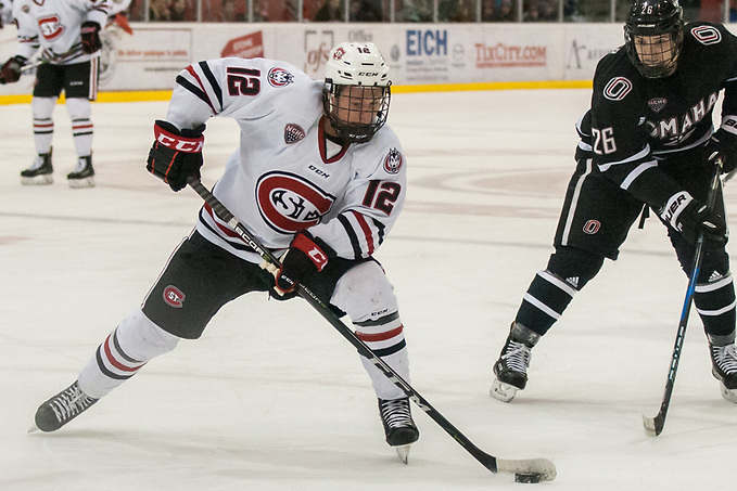 Jack Ahcan (SCSU-12) 2018 Feb. 02 St. Cloud State University hosts University of Nebraska Omaha in a NCHC contest at the Herb Brooks National Hockey Center in St. Cloud, MN (Bradley K. Olson)