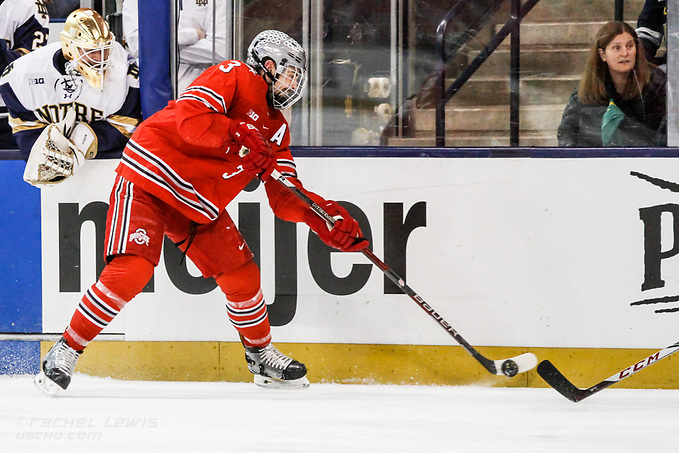 17 MAR 2018: Sasha Larocque (OSU - 3). The University of Notre Dame Fighting Irish host the Ohio State University in the 2018 B1G Championship at Compton Family Ice Arena in South Bend, IN. (Rachel Lewis - USCHO) (Rachel Lewis/©Rachel Lewis)