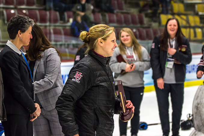 Hamline coach Natalie Darwitz after the Pipers won the third-place game at the 2018 Frozen Four. (Hamline Athletics)