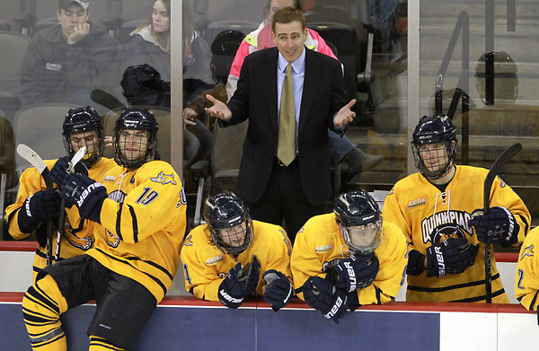 Quinnipiac Head Coach Rand Pecknold questions a call during overtime. Nebraska-Omaha and Quinnipiac skated to a 2-2 tie Friday night at the CenturyLink Center. (Photo by Michelle Bishop) .. (Michelle Bishop)