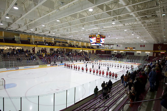 10 Dec 11: Ridder Arena during the National Anthem. The University of Minnesota Golden Gophers host the Ohio State Buckeyes in a WCHA (Women's) match up at Ridder Arena in Minneapolis, MN. (Jim Rosvold)