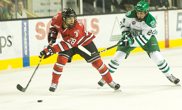 Jesper Öhrvall (RPI-28) Christian Wolanin (North Dakota-24) 16 October 15 RPI and University of North Dakota meet in a non conference contest at the Ralph Engelstad Arena in Grand Forks, ND (Bradley K. Olson)