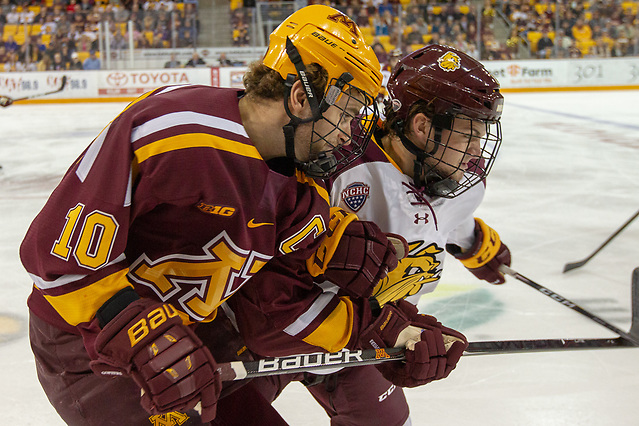 6 Oct 18: Brent Gates Jr. (Minnesota - 10). The University of Minnesota Golden Gophers play against the University of Minnesota Duluth Bulldogs in a non-conference matchup at AMSOIL Arena in Duluth, MN. (Jim Rosvold/University of Minnesota)