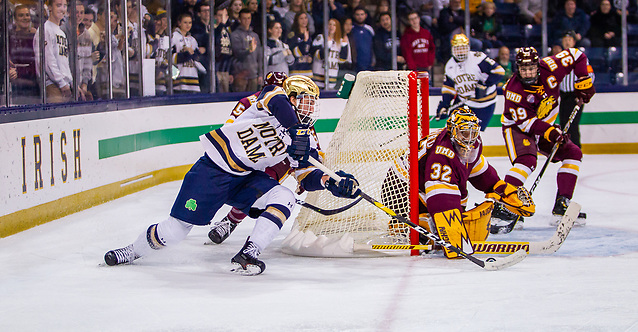 game action between University of Notre Dame vs Minnesota Duluth at Compton Family Ice Arena on October 26, 2018 in South Bend, Indiana. (Mike Miller/Fighting Irish Media)