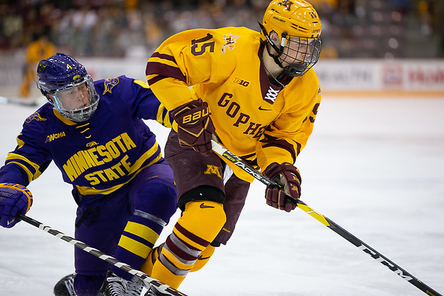 2 Nov 18: The University of Minnesota Golden Gophers host the Minnesota State University Maverick in a non-conference matchup at 3M Arena at Mariucci in Minneapolis, MN. Photo: Jim Rosvold/University of Minnesota (Jim Rosvold/University of Minnesota)