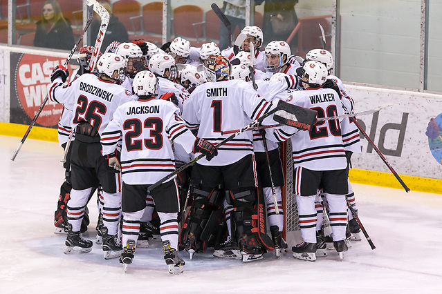 2018 November 10 St.Cloud State University hosts Denver in a NCHC contest at the Herb Brooks National Hockey Center in St. Cloud, MN (Bradley K. Olson)