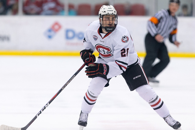 Kevin Fitzgerald (SCSU-28) 2018 November 10 St.Cloud State University hosts Denver in a NCHC contest at the Herb Brooks National Hockey Center in St. Cloud, MN (Bradley K. Olson)