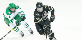 Andrew Peski (North Dakota-4) Wade Allison (Western Michigan-17) 2018 November 17 The University of North Dakota hosts Western Michigan in a NCHC matchup at the Ralph Engelstad Arena in Grand Forks, ND (Bradley K. Olson)