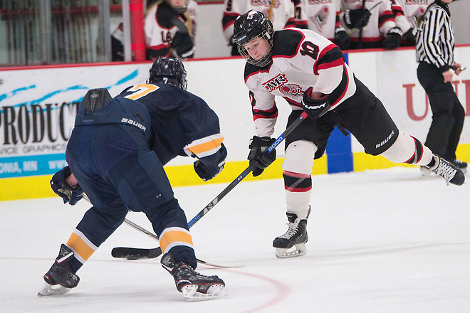 Callie Hoff (10) takes a shot in the second period against UW-Eau Claire in the O'Brien Cup game at Hunt Arena Saturday, March 3, 2018.  Womens Hockey VS Eau Claire_OBrien Cup_03032018_TSWomens Hockey VS Eau Claire_OBrien Cup_03032018_TS (Tori Schneider)