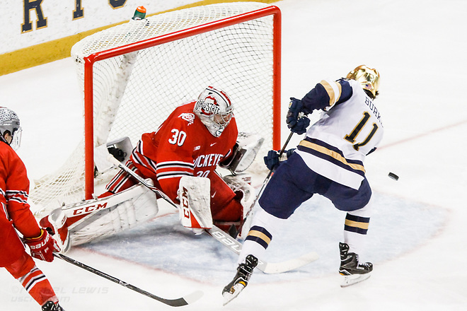 17 MAR 2018: Sean Romeo (OSU - 30), Cal Burke (ND - 11). The University of Notre Dame Fighting Irish host the Ohio State University in the 2018 B1G Championship at Compton Family Ice Arena in South Bend, IN. (Rachel Lewis - USCHO) (Rachel Lewis/©Rachel Lewis)