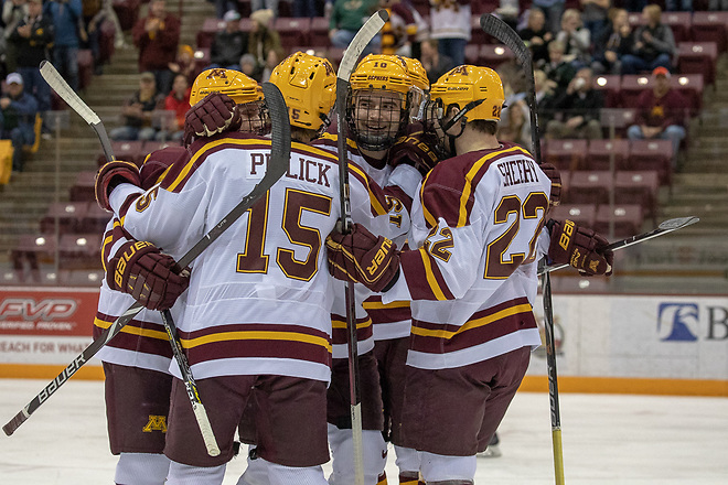 23 Nov 18: The University of Minnesota Golden Gophers host the Michigan State University Spartans in a B1G conference matchup at 3M Arena at Mariucci in Minneapolis, MN. Photo: Jim Rosvold/USCHO.com (Jim Rosvold/USCHO.com)