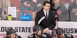 Mike Gabinet 2018 December 8 St.Cloud State University hosts University of Nebraska Omaha in a NCHC contest at the Herb Brooks National Hockey Center (Bradley K. Olson)