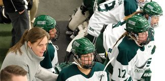 Melissa Lomanto behind the bench with the Morrisville Mustangs (Morrisville Athletics)