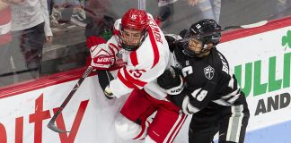 Shane Bowers (BU - 15), Jacob Bryson (PC - 18) - The visiting Providence College Friars defeated the Boston University Terriers 5-0 on Friday, October 26, 2018, at Agganis Arena in Boston, Massachusetts. - The visiting Providence College Friars defeated the Boston University Terriers 5-0 on Friday, October 26, 2018, at Agganis Arena in Boston, Massachusetts. (Melissa Wade)