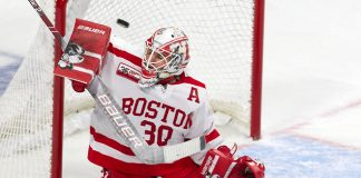 Jake Oettinger (BU - 30) - The visiting Providence College Friars defeated the Boston University Terriers 5-0 on Friday, October 26, 2018, at Agganis Arena in Boston, Massachusetts. - The visiting Providence College Friars defeated the Boston University Terriers 5-0 on Friday, October 26, 2018, at Agganis Arena in Boston, Massachusetts. (Melissa Wade)