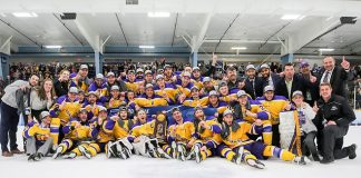 Wisconsin-Stevens Point completed an unbeaten season (29-0-2) with a national championship, downing Norwich in overtime Saturday night on home ice (photo: Kylie Bridenhagen)