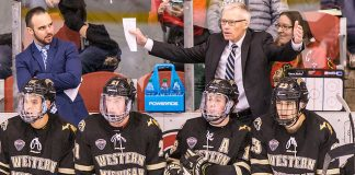 Andy Murray WMU Head Coach 2019 January 18 St. Cloud State University hosts Western Michigan in a NCHC contest at the Herb Brooks National Hockey Center (Bradley K. Olson)