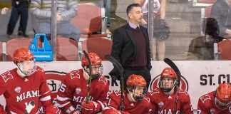 Enrico Blasi 2019 February 1 St.Cloud State University hosts Miami of Ohio in a NCHC matchup at the Herb Brooks National Hockey Center (Bradley K. Olson)