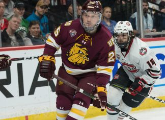 Peter Krieger (Minnesota-Duluth-25) 2019 March 23 University of Minnesota Duluth and St. Cloud State University meet in the championship game of the NCHC Frozen Face Off at the Xcel Energy Center in St. Paul, MN (Bradley K. Olson)