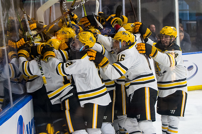 AIC players celebrate an overtime win over Robert Morris in the Atlantic Hockey semifinals (2019 Omar Phillips)