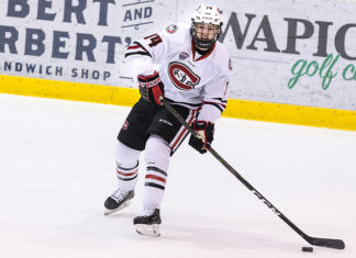 Patrick Newell (SCSU-14) 2018 December 8 St.Cloud State University hosts University of Nebraska Omaha in a NCHC contest at the Herb Brooks National Hockey Center (Bradley K. Olson)